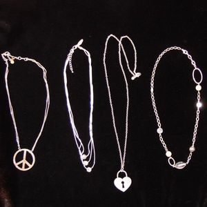 Jewelry - Lot of 6 Silver Tone Necklaces- Vintage & modern